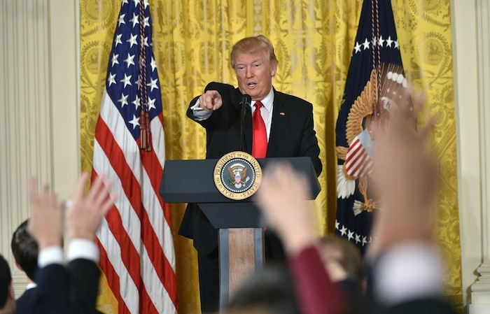 US Pres. Donald Trump holds press conference
