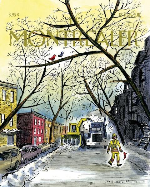 Cyril Doisneau – 18mars2017<br /> Les artistes ont eu carte blanche pour mettre en images ce que Montréal leur inspire, soit un lieu, une atmosphère ou un événement. Ici, le déneigement.