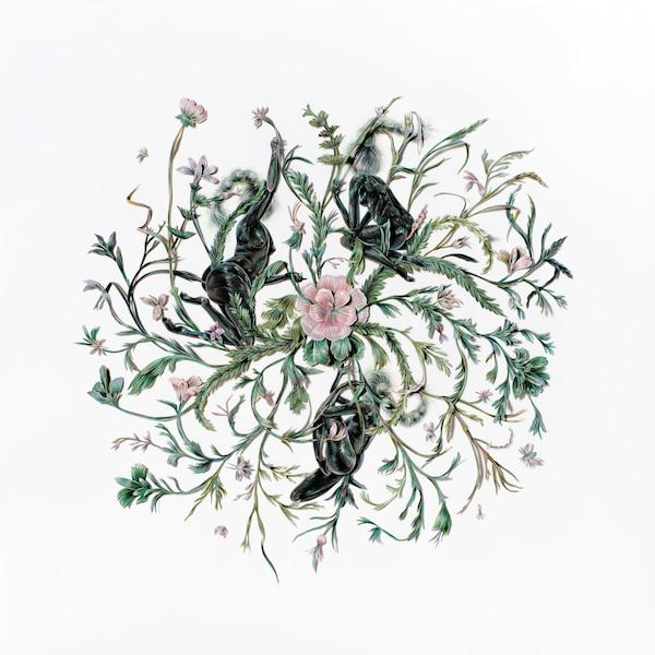 <b><i>Axis Mundi</i> - 2018<br/>Crayon de couleur et collage de papier découpé - 91,5 x 91,5cm</b><br/>L'artiste utilise un processus laborieux pour développer des formes figuratives complexes, mais ambiguës. Oeuvre de Winnie Truong. Représentée par VIVIANEART (Calgary)