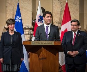 Marie-Claude Bibeau, Justin Trudeau et Denis Coderre
