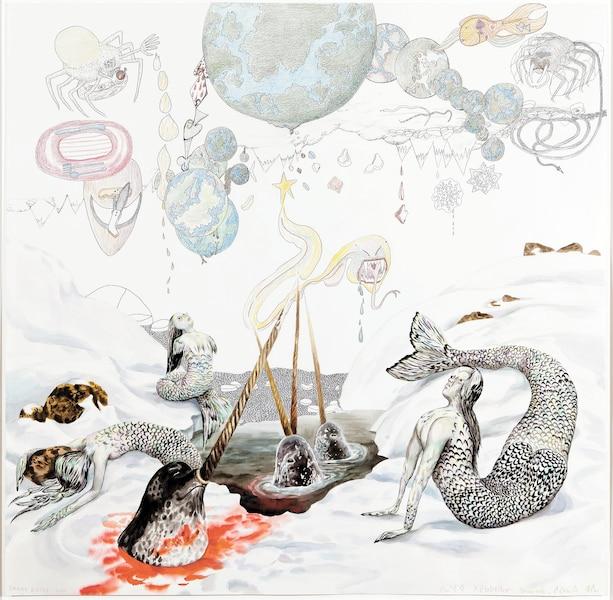 <b><i>Universal Cobra Pussy</i></b><br /> <b>2011, encre, gouache et crayon de couleur sur papier, 111,8 x 111,8cm</b><br /> Un art pour communiquer, au moyen de symboles, de mythes, de rêves et d'hybrides. Collection particulière. Oeuvre de Shuvinai Ashoona & Shary Boyle.