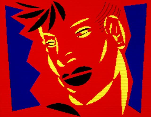 Red Head with Yellow 1983<br /> Série Computer Heads<br /> Épreuve cibachrome.  Dès 1980, l'artiste fut l'une des pionnières de l'art numérique, même si peu de gens croyaient à cette nouvelle forme d'art.