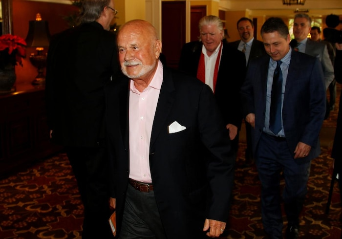 Peter Karmanos leaves at the conclusion of the NHL Board of Governors meeting in Pebble Beach