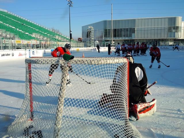 Dernier entraînement des Voltigeurs de Drummondville avant la Classique hivernale de la LHJMQ.