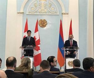 Le premier ministre Justin Trudeau a conclu sa visite en Arménie en rencontrant son homologue Nicol Pachinian.