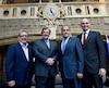 Le maire Régis Labeaume, le ministre François Blais, Yves Desjardins-Siciliano, président et chef de la direction de Via Rail Canada et le ministre Jean Yves Duclos.