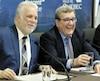 Le Premier Ministre de Quebec Philippe Couillard et Le Maire de Quebec Régis Labeaume lors de l'annonce d'un projet de réseau Structurant de transport en commun pour la Ville de Quebec d'une valeur de 3 milliard de dollars.