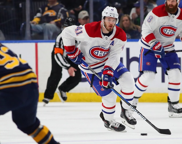 BUFFALO, NY - MARCH 23: Paul Byron #41 of the Montreal Canadiens skates into the Buffalo Sabres zone during the first period at KeyBank Center on March 23, 2018 in Buffalo, New York.   Kevin Hoffman/Getty Images/AFP == FOR NEWSPAPERS, INTERNET, TELCOS & TELEVISION USE ONLY ==