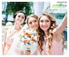 bride with bridesmaid at wedding ceremony doing selfie