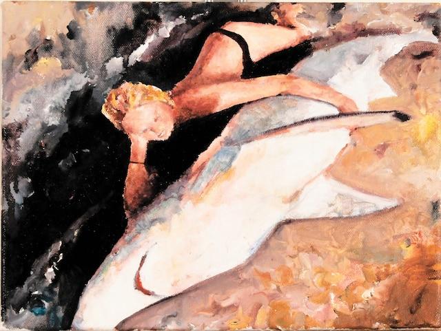 <b><i>Faits divers/FD0.42</i></b><br /> <b>2017 – huile sur toile – 20cm x 25cm</b><br /> Plus de trente-cinq œuvres disposées sur les murs de deux salles de la Galerie Simon Blais, dont celle-ci, réalisée par Alexis Lavoie.