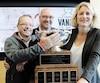 Le président du comité organisateur Christian Côté, le représentant de USports John Bower et la directrice du SAS Julie Dionne ont donné le coup d'envoi, lundi, de la semaine d'activités de la Coupe Vanier.