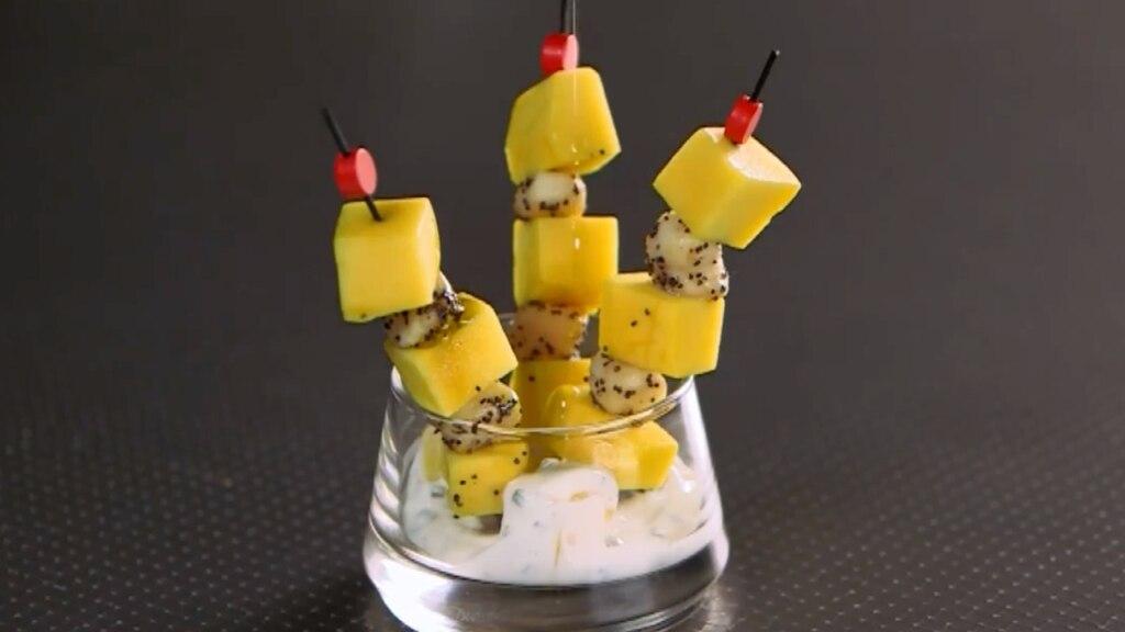 Pétoncles grillés à la mangue
