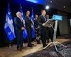 Le chef de la Coalition avenir Québec, François Legault, lors d'un point de presse en marge du caucus présessionel de son parti, qui a lieu à Sainte-Adèle dans les Laurentides.