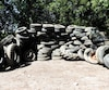 Quelques-uns des pneus ramassés depuis samedi dans la rivière du Nord, à Saint-Jérôme.