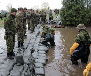Les militaires sont présents dans plusieurs régions du Québec, dont ici dans la Ville de Pierrefonds, au sud de Montréal, où ils renforcent une digue.
