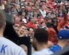 Le défenseur des Predators de Nashville P.K. Subban a assisté à la rencontre entre les Blue Jays de Toronto et les Cardinals de St. Louis, le jeudi 27 avril 2017, à St. Louis. CAPTURE D'ÉCRAN/TVA SPORTS