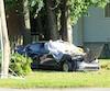 Le conducteur de la Honda Civic a percuté un poteau après avoir happé mortellement Jean Brien à Pointe-Calumet.