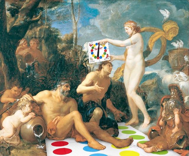 <b>Charles Le Brun</b><br /> <i>La Déification d'Énée</i>, 1642-1644<br /> Les notes humoristiques ont été réalisées par l'artiste Emmanuel Laflamme.