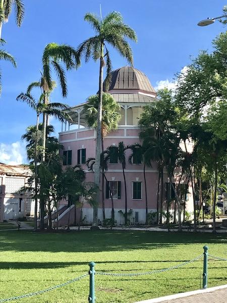 Ce bâtiment octogonal abritait autrefois  une prison. C'est aujourd'hui la librairie  de Nassau. Les cellules du sous-sol ont  été transformées en salles de lecture.