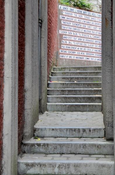 La phrase, dont les mots sont empruntés à des auteurs connus, s'étale un peu partout sur les murs de la ville.