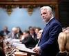 Le premier ministre, Philippe Couillard, lors de la période des questions à l'Assemblée nationale, mardi.