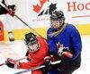 L'équipe nationale féminine canadienne a tenu une séance d'entraînement au Centre Vidéotron, samedi matin.
