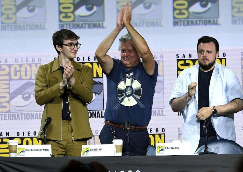 De gauche à droite: les acteurs Isaac Hempstead Wright, Conleth Hill et John Bradley.