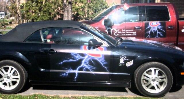 En 2010, Michel Lévesque avait décoré ses deux voitures.