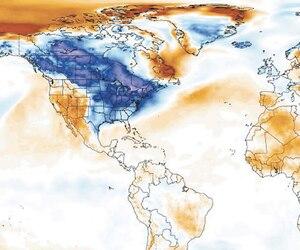Les zones en bleu indiquent des températures sous les normales et en rouge, des températures au-dessus des normales.