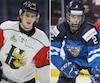 Nico Hischier des Mooseheads d'Halifax et Miro Heiskanen portant les couleurs de la Finlande au Championnat mondial de hockey junior.