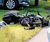 La moto Yamaha R1 de Gabriel Gélinas a été retrouvée dans un état lamentable sur la route 122 à Saint-Germain-de-Grantham.