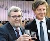 Le maire Régis Labeaume et son homologue bordelais, Nicolas Florian, jeudi, lors de la première soirée de l'événement Bordeaux fête le vin à Québec.