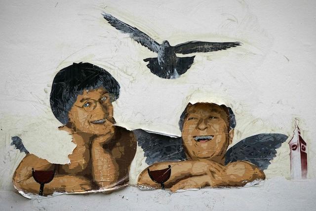 Collage inspiré du Dernier jugment représentant Cabu et Wolinski.