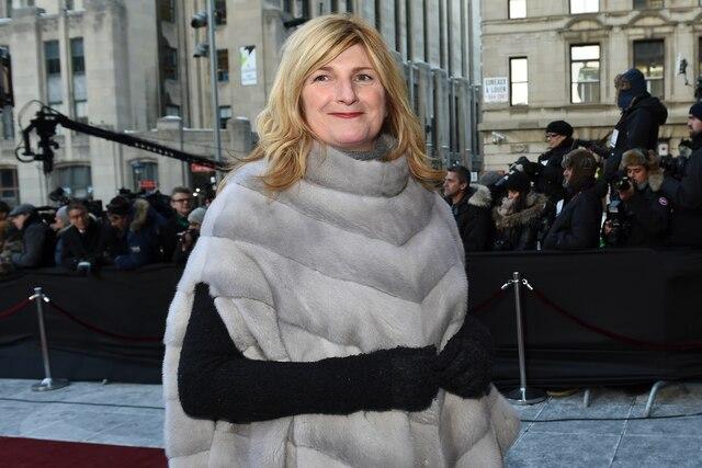 Marie-France Bazzo à son arrivée aux funérailles de René Angelil, célébrées ce vendredi après-midi 22 janvier 2016, à la Basilique Notre-Dame, à Montréal.