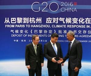 Avec les États-Unis et la Chine, qui représentent à eux deux environ 40% des émissions mondiales, le seuil nécessaire pour l'entrée en vigueur de l'accord (55 pays, 55% des émissions mondiales) se rapproche.