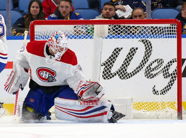 BUFFALO, NY - MARCH 23: Antti Niemi #37 of the Montreal Canadiens makes the save against the Buffalo Sabres during the third period at KeyBank Center on March 23, 2018 in Buffalo, New York. Antti Niemi registered a shutout.   Kevin Hoffman/Getty Images/AFP == FOR NEWSPAPERS, INTERNET, TELCOS & TELEVISION USE ONLY ==