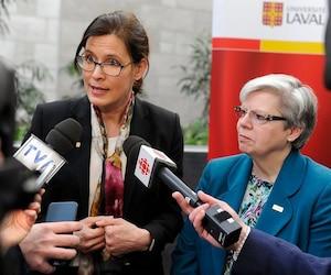 La rectrice de l'Université Laval, Sophie D'Amours, lors d'un point de presse hier à l'institution d'enseignent.
