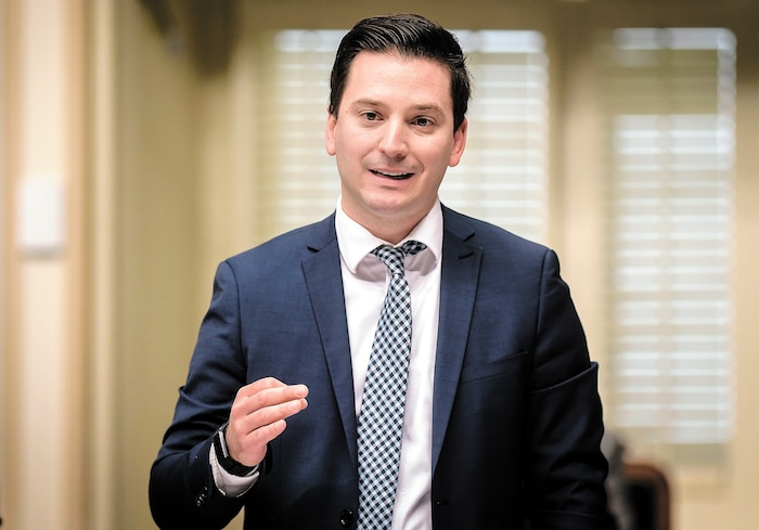 Le ministre de l'Immigration Simon Jolin-Barrette, jeudi, lors de la période des questions à l'Assemblée nationale.