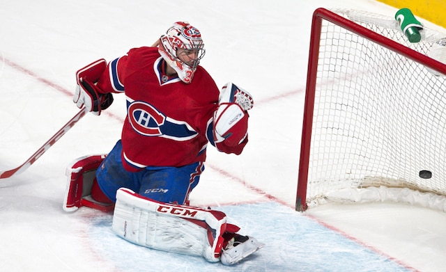 But de Anze Kopitar en première période lors du match opposant les Kings de Los Angeles et le Canadien de Montréal au centre Bell.