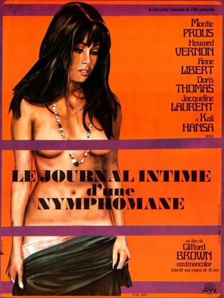 Affiche du film français <i>Le Journal intime d'une nymphomane</i>, dans lequel a joué Jacqueline Laurent-Auger, en 1973.