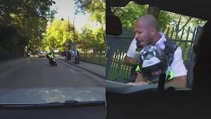 Un policier frappe un scooter avec son auto