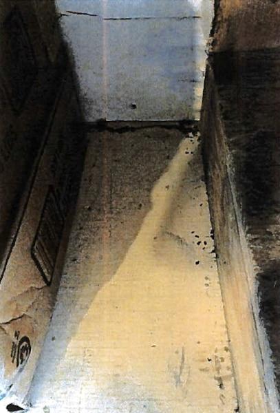 Tablette souillée de poussière, crasse et crottes de souris.