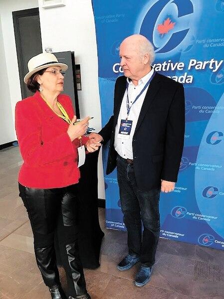 Fatima Houda-Pepin s'est entretenue avec l'ancien chef du Bloc québécois Michel Gauthier samedi.