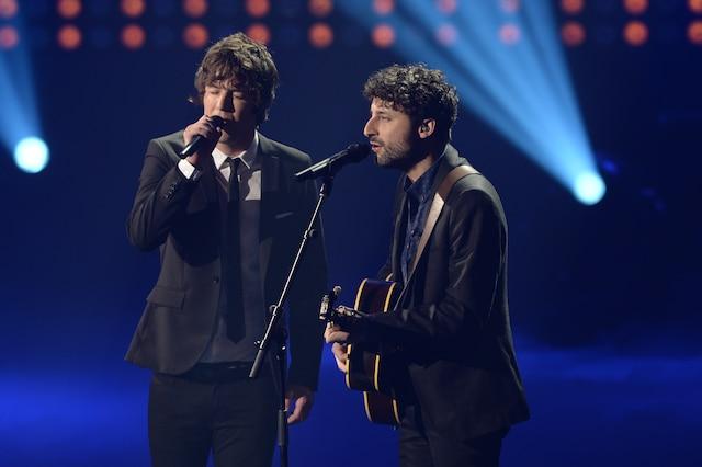 La grande finale de «La Voix» a eu lieu le 13 avril 2014 à Montréal. Sur la photo, Rémi Chassé et son coach Louis-Jean Cormier.