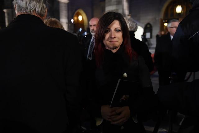 Marie-Hélène Thibert à la sortie des funérailles de René Angelil, célébrées ce vendredi après-midi 22 janvier 2016, à la Basilique Notre-Dame, à Montréal.