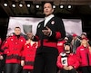 Canada's assistant Chef de Mission Brassard speaks during the unveiling of the Canadian Olympic and Paralympic team clothing in Toronto