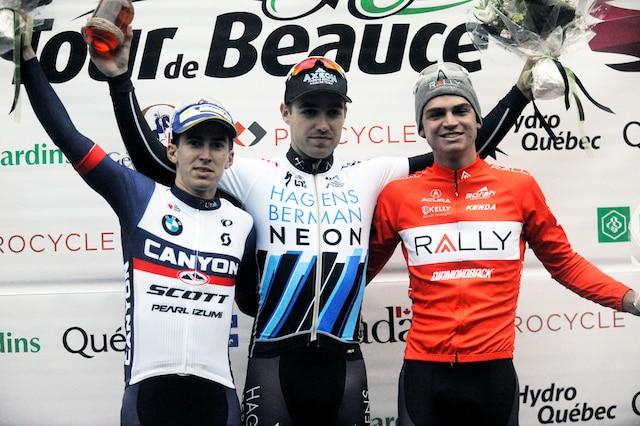 **NO RESALE** Steve Fisher (2e),  Christopher Lawless (1er) et Sepp Kuss (3e) lors du podium de l'Étape 3b de la deuxième course de la journée au Tour de Beauce 2017.