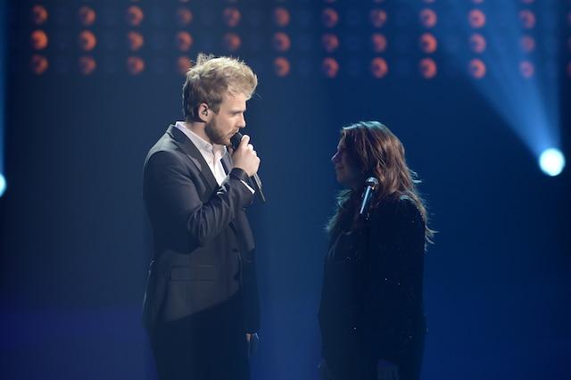 La grande finale de «La Voix» a eu lieu le 13 avril 2014 à Montréal. Sur la photo, Yoan et sa coach Isabelle Boulay.