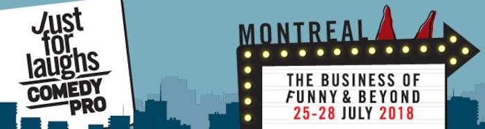 Logo 2018 du colloque Comedy Pro de Just for Laughs, obtenu sur le site Web de l'événement.
