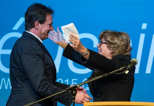 Pierre Karl Péladeau et Denise Filiatrault lors du lancement de sa campagne à la direction du PQ.